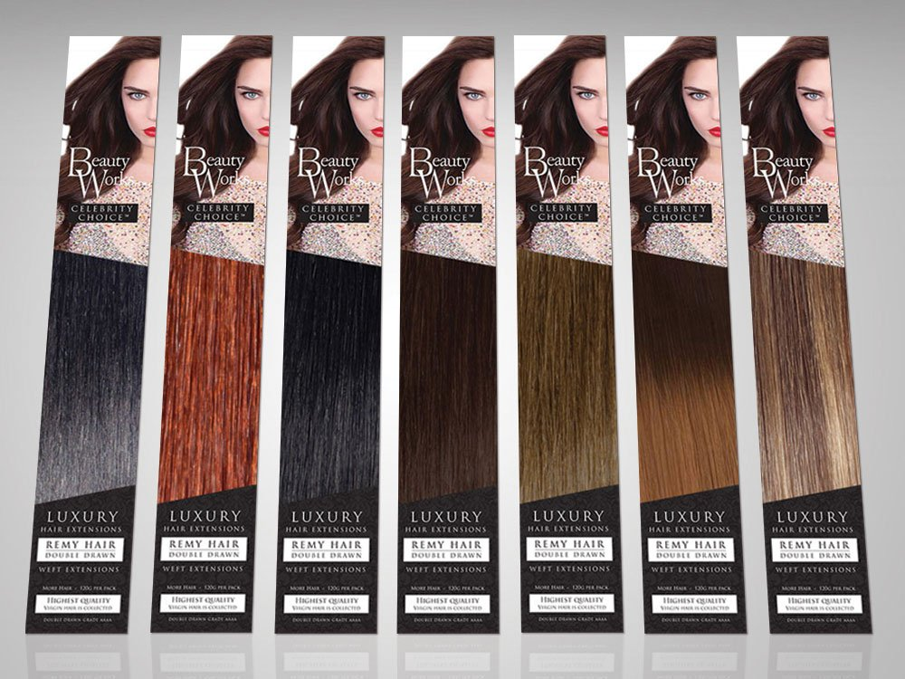 Beauty Works celebrity choice hair extensions packaging design PACKS