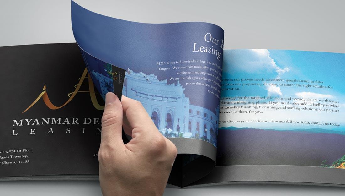booklet design for real estate leasing agency in yangon