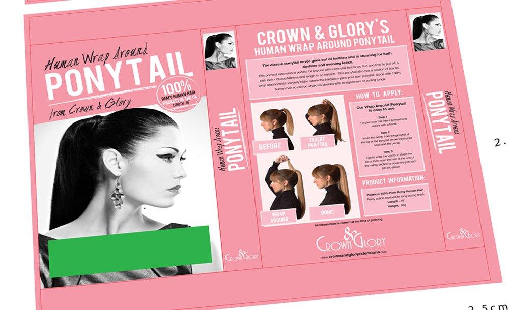 Crown & Glory Hair Extension Ponytail Box Design Adobe Illustrator