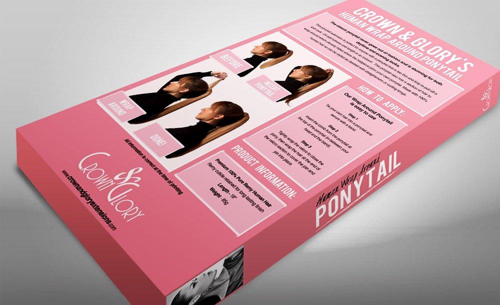Crown & Glory Hair Extension Ponytail Box Design reverse