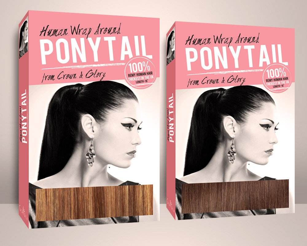 Crown & Glory Hair Extension Ponytail Box Design front angled