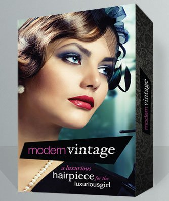 Modern vintage hair extension design packaging