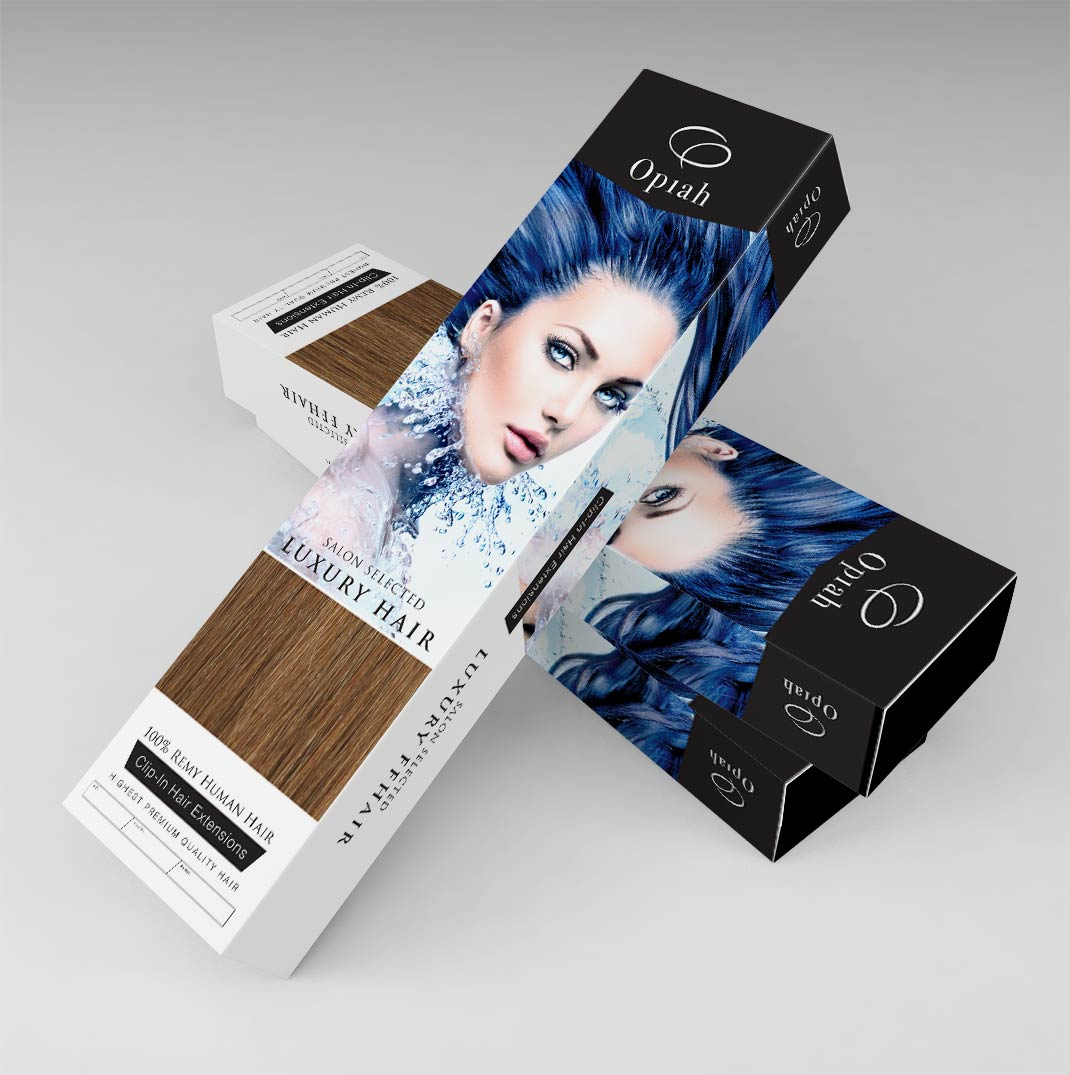 Packaging Design For Opiah Remy Human Hair Extensions