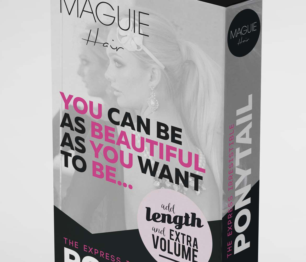 wraparound-ponytail-hair-extensions-box-packaging-design-maguie-main-close-up-image