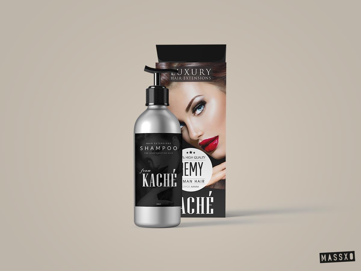 kache hair extensions shampoo packaging design